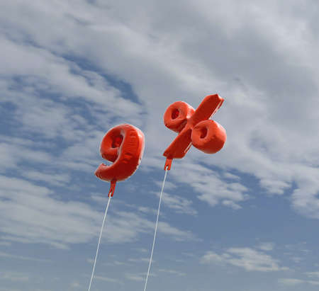 9% - red foil balloons on blue sky - 3D rendered royalty free stock picture. This image can be used for an online website banner ad or a print postcard.