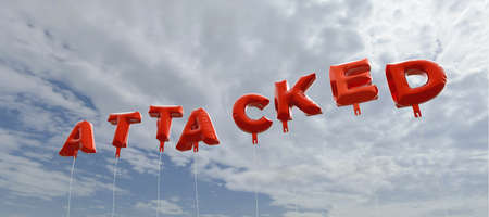 attacked: ATTACKED - red foil balloons on blue sky - 3D rendered royalty free stock picture. This image can be used for an online website banner ad or a print postcard.