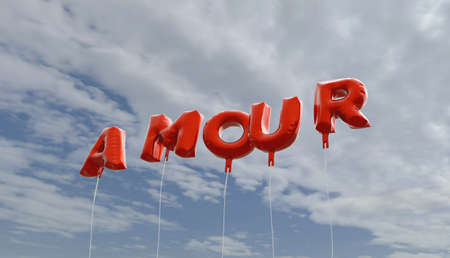 amour: AMOUR - red foil balloons on blue sky - 3D rendered royalty free stock picture. This image can be used for an online website banner ad or a print postcard. Stock Photo