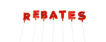 rebates: REBATES - word made from red foil balloons - 3D rendered.  Can be used for an online banner ad or a print postcard.
