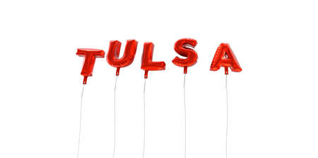 TULSA - word made from red foil balloons - 3D rendered.  Can be used for an online banner ad or a print postcard. Stock Photo