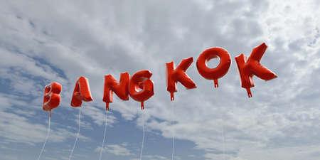 バンコク - 青い空に赤箔バルーン - 3 D レンダリングされたロイヤリティ フリー ストック画像。この画像は、オンラインの web サイトのバナー広告や印刷はがきの使用できます。 写真素材 - 65680339