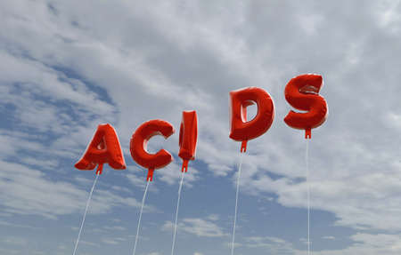 acids: ACIDS - red foil balloons on blue sky - 3D rendered royalty free stock picture. This image can be used for an online website banner ad or a print postcard.