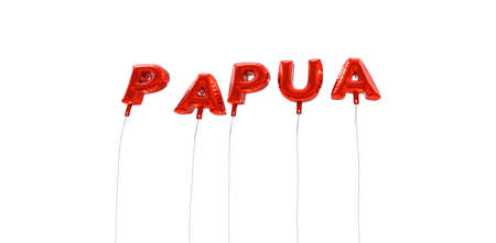 PAPUA - word made from red foil balloons - 3D rendered.  Can be used for an online banner ad or a print postcard.