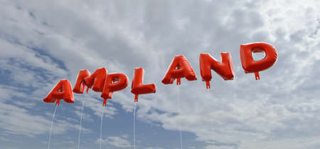 AMPLAND - red foil balloons on blue sky - 3D rendered royalty free stock picture. This image can be used for an online website banner ad or a print postcard.