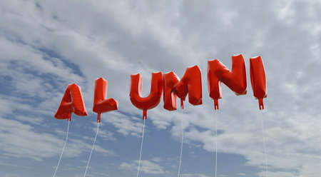 ALUMNI - red foil balloons on blue sky - 3D rendered royalty free stock picture. This image can be used for an online website banner ad or a print postcard.