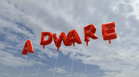adware: ADWARE - red foil balloons on blue sky - 3D rendered royalty free stock picture. This image can be used for an online website banner ad or a print postcard. Stock Photo