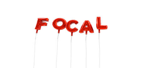 focal: FOCAL - word made from red foil balloons - 3D rendered.  Can be used for an online banner ad or a print postcard.