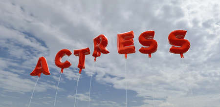ACTRESS - red foil balloons on blue sky - 3D rendered royalty free stock picture. This image can be used for an online website banner ad or a print postcard.
