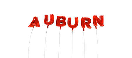 auburn: AUBURN - word made from red foil balloons - 3D rendered.  Can be used for an online banner ad or a print postcard.