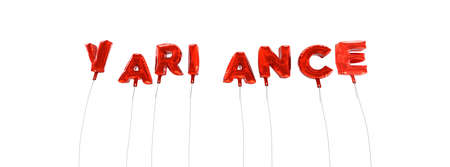 variance: VARIANCE - word made from red foil balloons - 3D rendered.  Can be used for an online banner ad or a print postcard. Stock Photo