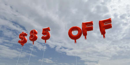 $85 OFF - red foil balloons on blue sky - 3D rendered royalty free stock picture. This image can be used for an online website banner ad or a print postcard.
