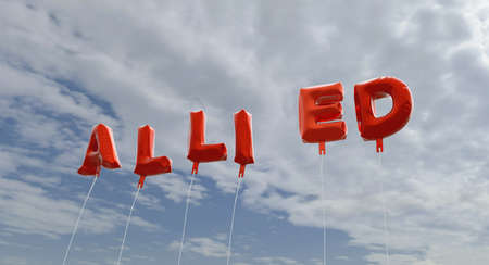allied: ALLIED - red foil balloons on blue sky - 3D rendered royalty free stock picture. This image can be used for an online website banner ad or a print postcard.
