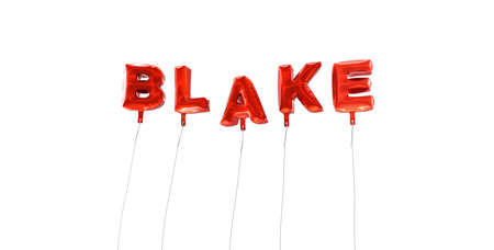 blake and white: BLAKE - word made from red foil balloons - 3D rendered.  Can be used for an online banner ad or a print postcard. Stock Photo