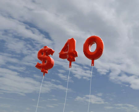 40: $40 - red foil balloons on blue sky - 3D rendered royalty free stock picture. This image can be used for an online website banner ad or a print postcard. Stock Photo
