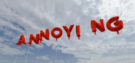 annoying: ANNOYING - red foil balloons on blue sky - 3D rendered royalty free stock picture. This image can be used for an online website banner ad or a print postcard. Stock Photo