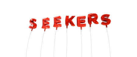 seekers: SEEKERS - word made from red foil balloons - 3D rendered.  Can be used for an online banner ad or a print postcard.