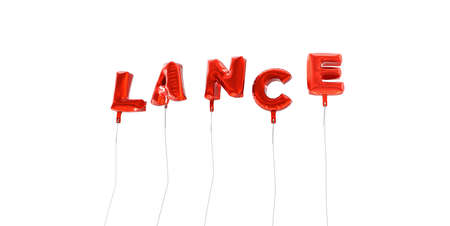 lance: LANCE - word made from red foil balloons - 3D rendered.  Can be used for an online banner ad or a print postcard.