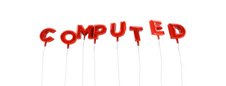 COMPUTED - word made from red foil balloons - 3D rendered.  Can be used for an online banner ad or a print postcard.