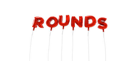 rounds: ROUNDS - word made from red foil balloons - 3D rendered.  Can be used for an online banner ad or a print postcard.