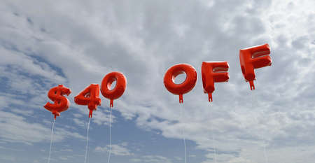 40: $40 OFF - red foil balloons on blue sky - 3D rendered royalty free stock picture. This image can be used for an online website banner ad or a print postcard.