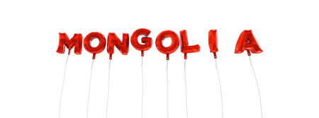 MONGOLIA - word made from red foil balloons - 3D rendered.  Can be used for an online banner ad or a print postcard.