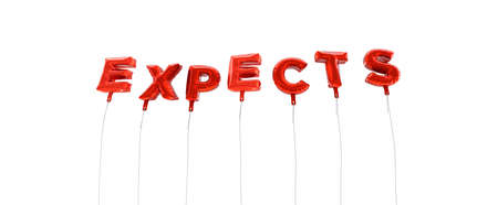 EXPECTS - word made from red foil balloons - 3D rendered.  Can be used for an online banner ad or a print postcard.