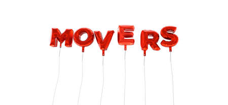 movers: MOVERS - word made from red foil balloons - 3D rendered.  Can be used for an online banner ad or a print postcard.