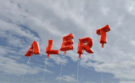 be alert: ALERT - red foil balloons on blue sky - 3D rendered royalty free stock picture. This image can be used for an online website banner ad or a print postcard. Stock Photo