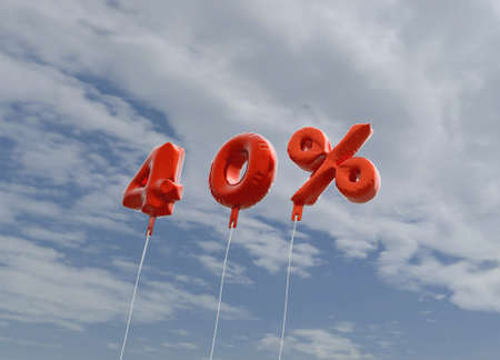 40: 40% - red foil balloons on blue sky - 3D rendered royalty free stock picture. This image can be used for an online website banner ad or a print postcard.