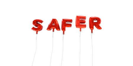SAFER - word made from red foil balloons - 3D rendered.  Can be used for an online banner ad or a print postcard.