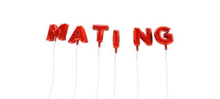mating: MATING - word made from red foil balloons - 3D rendered.  Can be used for an online banner ad or a print postcard.