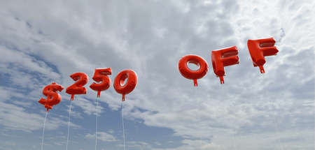 $250 OFF - red foil balloons on blue sky - 3D rendered royalty free stock picture. This image can be used for an online website banner ad or a print postcard.