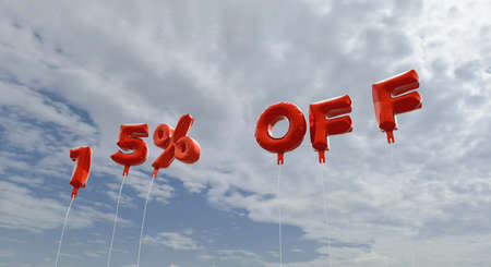 15% OFF - red foil balloons on blue sky - 3D rendered royalty free stock picture. This image can be used for an online website banner ad or a print postcard. Stock Photo