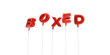 boxed: BOXED - word made from red foil balloons - 3D rendered.  Can be used for an online banner ad or a print postcard. Stock Photo