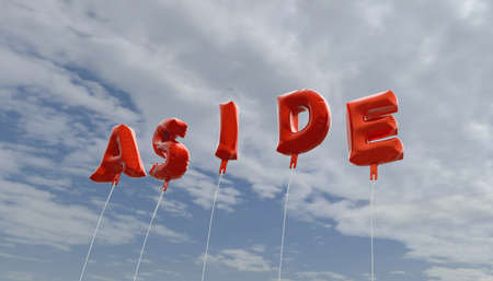aside: ASIDE - red foil balloons on blue sky - 3D rendered royalty free stock picture. This image can be used for an online website banner ad or a print postcard. Stock Photo