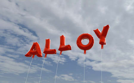 alloy: ALLOY - red foil balloons on blue sky - 3D rendered royalty free stock picture. This image can be used for an online website banner ad or a print postcard.