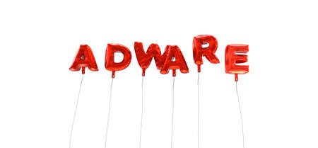 adware: ADWARE - word made from red foil balloons - 3D rendered.  Can be used for an online banner ad or a print postcard.