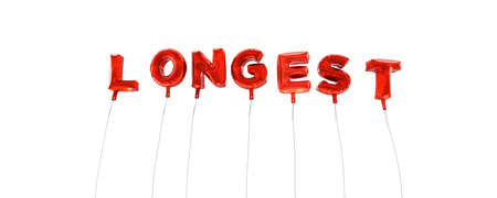 longest: LONGEST - word made from red foil balloons - 3D rendered.  Can be used for an online banner ad or a print postcard. Stock Photo
