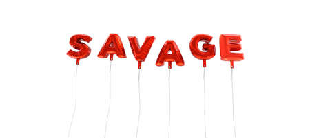 savage: SAVAGE - word made from red foil balloons - 3D rendered.  Can be used for an online banner ad or a print postcard.