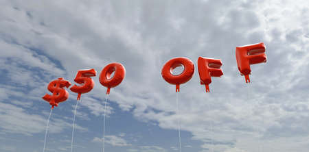 50  off: $50 OFF - red foil balloons on blue sky - 3D rendered royalty free stock picture. This image can be used for an online website banner ad or a print postcard. Stock Photo
