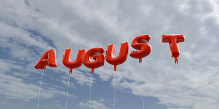 AUGUST - red foil balloons on blue sky - 3D rendered royalty free stock picture. This image can be used for an online website banner ad or a print postcard. Stock Photo