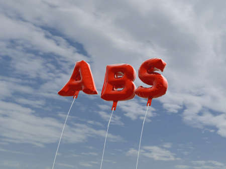 ABS - red foil balloons on blue sky - 3D rendered royalty free stock picture. This image can be used for an online website banner ad or a print postcard.