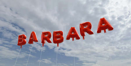BARBARA - red foil balloons on blue sky - 3D rendered royalty free stock picture. This image can be used for an online website banner ad or a print postcard. Stock Photo