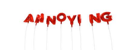 molesto: MOLESTO - palabra hecha de globos de la hoja de color rojo - 3D prestados. Puede ser utilizado para un banner publicitario en línea o una postal de impresión.
