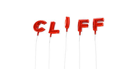 CLIFF - word made from red foil balloons - 3D rendered.  Can be used for an online banner ad or a print postcard. Stock Photo