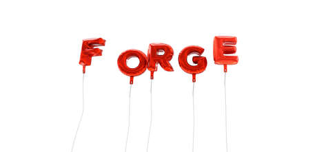 forge: FORGE - word made from red foil balloons - 3D rendered.  Can be used for an online banner ad or a print postcard. Stock Photo