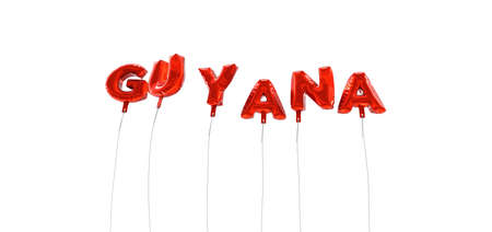 GUYANA - word made from red foil balloons - 3D rendered.  Can be used for an online banner ad or a print postcard. Stock Photo