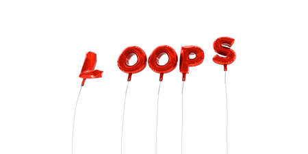 LOOPS - word made from red foil balloons - 3D rendered.  Can be used for an online banner ad or a print postcard.