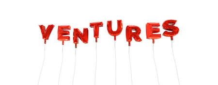 ventures: VENTURES - word made from red foil balloons - 3D rendered.  Can be used for an online banner ad or a print postcard. Stock Photo